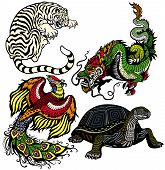 white tiger,green dragon,red phoenix and black turtle, Set of four feng shui celestial animals isolated on white background poster