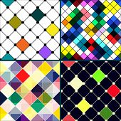 Set of four retro vector seamless pattern. Colorful mosaic banner. Repeating geometric tiles with colored rhombus. Geometric background. poster