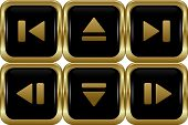 Set of the black gold switch buttons. Abstract vector illustration. poster
