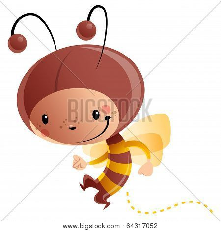Cartoon Happy Smiling Kid Wearing Funny Carnival Bee Costume