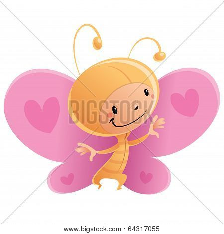 Cartoon Happy Smiling Kid Wearing Funny Carnival Butterfly Costume