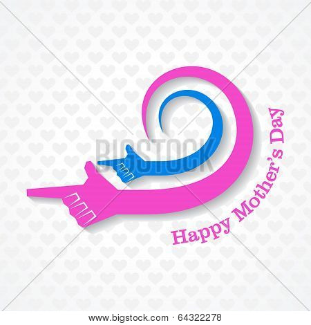 Mothers day greeting with mother and child hand