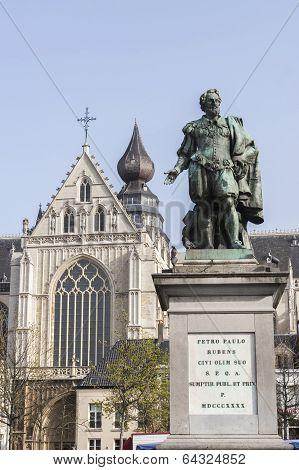 Statue Of Peter Paul Rubens In Antwerp.