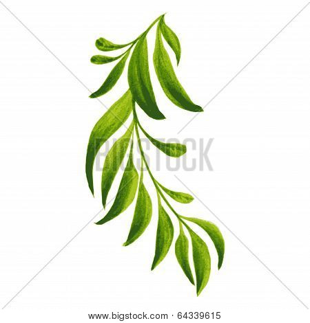 Decorative Ornament Branch With Green Leaves