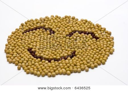smile face made of soybeans and onobrychis
