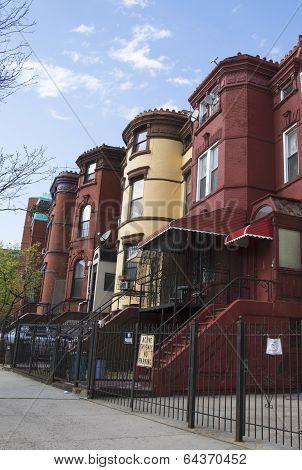 New York City brownstones in Bedford-Stuyvesant neighborhood in Brooklyn
