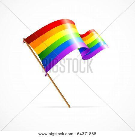 Vector a rainbow flag waving