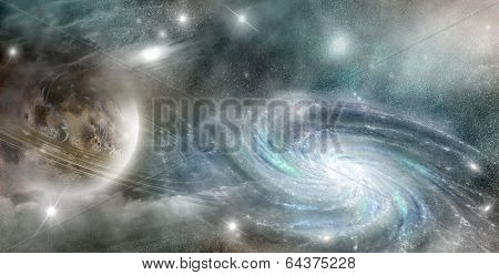 spiral galaxy and a planet with a system of rings in space against a background of nebulae poster