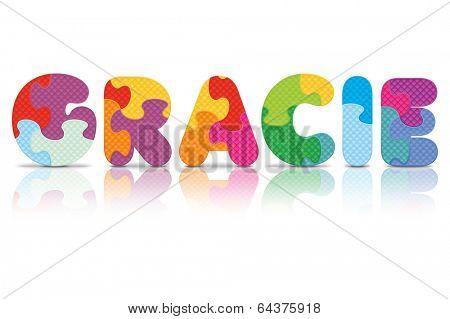GRACIE written with alphabet puzzle - vector illustration