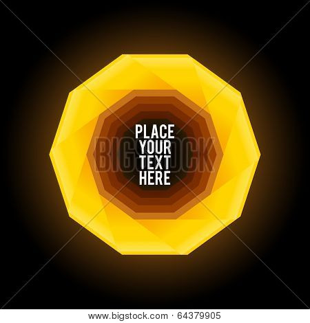Yellow decagon shape on dark background