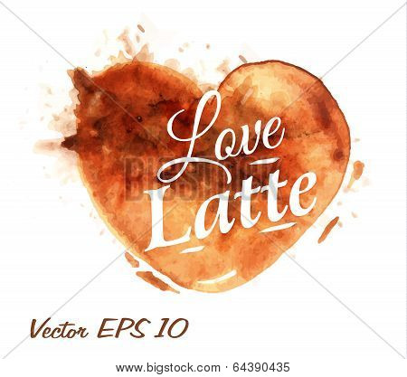 Heart with coffee latte