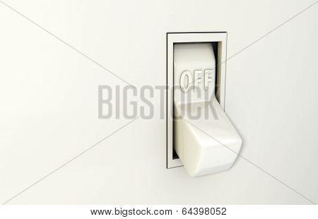 Isolated wall light switch in the Off position