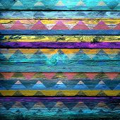 old color painted chevron wooden wall - texture or background poster