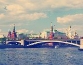 landscape with view of Moscow river and Kremlin embankment instagram nashville tone poster