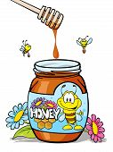 honey jar with wooden spoon and honey dripping poster