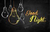 Good Night Bulbs Background - digital art poster