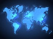 Blue Pixel World Map with Spot Lights. Vector poster