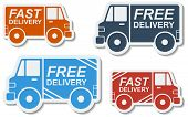 Free delivery, fast delivery colorful icons set with blend shadows. Vector. poster