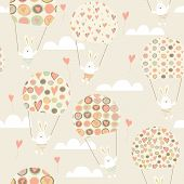 Romantic seamless pattern with cute rabbits parachutists . Parachute with hearts. Happy hares flying in clouds. Valentines day card design. Vector illustration. poster