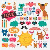Sweet set of various vector scrapbook elements poster