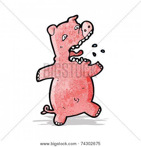 cartoon scared pig