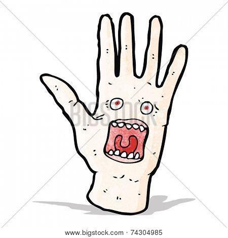 scary shrieking hand cartoon