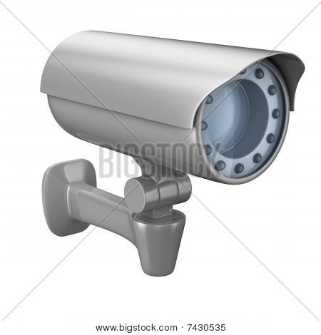 security camera on white background. Isolated 3D image poster
