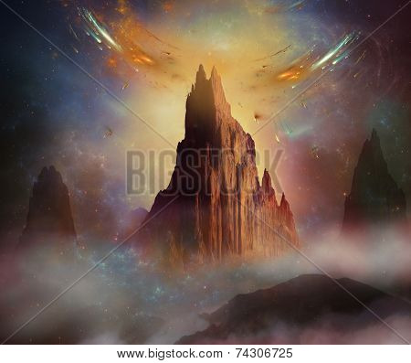 Fantastic Mountain In The Space