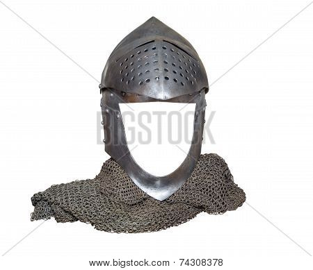 Knight's Helmet Raised With Visor