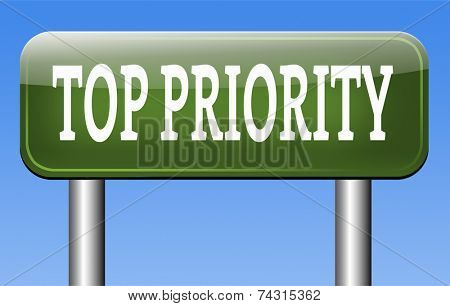 top priority highest importance crucial and important information act now or never