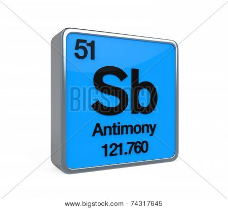 Antimony Element Periodic Table isolated on white background. 3D render poster