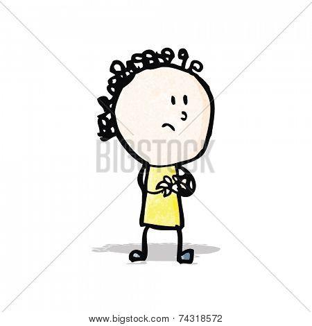 cartoon woman wringing hands
