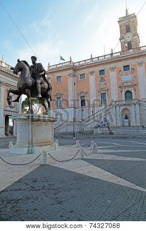 Marcus Aurelius At The Campidoglio In Rome, Italy