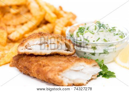 Salmon Fillet With Chips Isolated On White