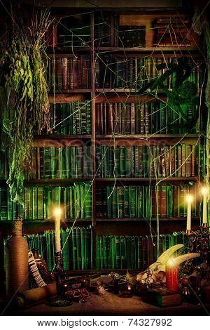 Witch's lair. Magic decoration. Alchemy. Halloween.