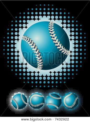 Blue baseball and haftone