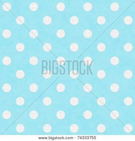 Teal and White Large Polka Dots Pattern Repeat Background that is seamless and repeats poster