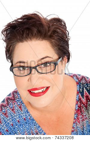 Smiling Short Hair Woman Wearing Eyeglasses