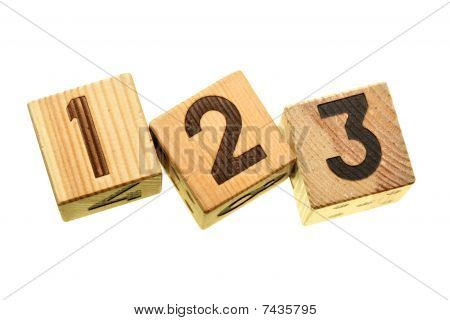 Wooden Blocks With Digits 123