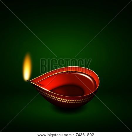 Diwali Oil Lamp Over Green Background