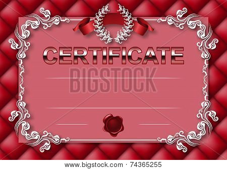 Elegant template of certificate diploma with decoration of lace pattern ribbon wax seal laurel wreath button-tufted texture place for text. Certificate of achievement education awards winner. Vector illustration EPS 10. poster