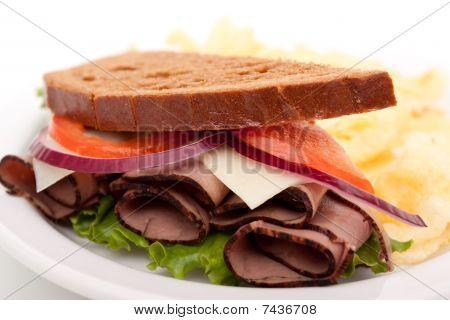 Roast Beef Sandwich On Rye Bread