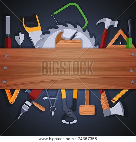 Carpentry woodworks background with wooden plank and handwork tools and equipment vector illustration poster