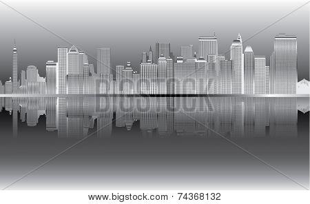 New York Skyline in night _vector