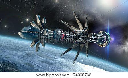 Spaceship with Warp Drive