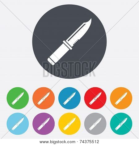 Knife sign icon. Edged weapons symbol.
