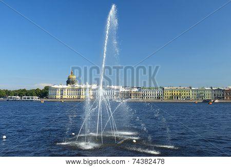 Fountain On The Neva River, Saint Petersburg, Russia