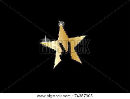 Shiny Gold Colorful Star Victory Winning V Hand Gesture Silhouette - Achivement Award Icon Symbol