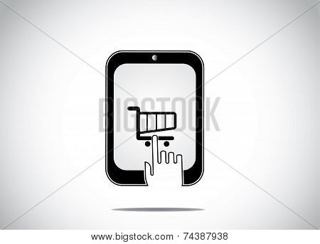 A Young Human Hand Clicking Selecting A Shopping Cart Icon In A Black Tablet Smartphone & Buying