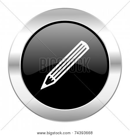 pencil black circle glossy chrome icon isolated